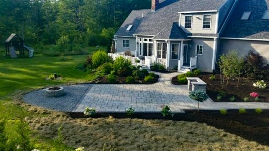 Portsmouth Yard Landscape with Pavers and outdoor fireplace