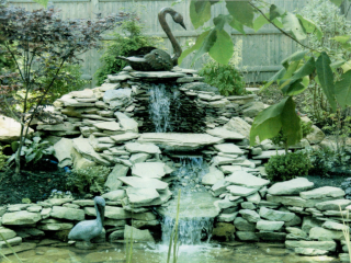 Barrington NH backyard Landscape - Rock Water Fall with Swan