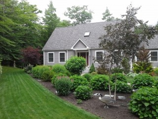 landscape gallery strafford nh Front yard with tree and shrubs