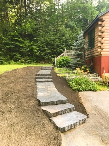 Front Walkway Log Cabin - Portsmouth Landscaping